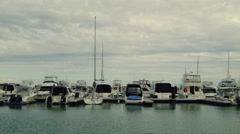 Boats and Yachts Moored in a Marina in Perth Stock Footage