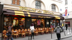 Authentic street cafe in Paris Stock Footage