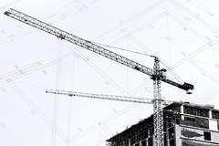 Construction site with cranes on silhouette background Stock Illustration