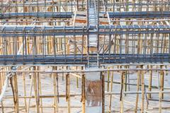 foundation steel rod for house building - stock photo