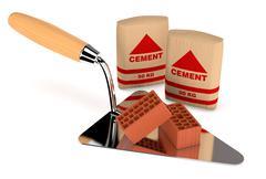 bricks and building tools - stock illustration