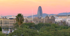 Barcelona spanish city Spain Catalonia sunset sun set afterglow afterlight sky Stock Footage