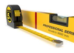 spirit level and tape measure - stock illustration