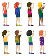 Faceless kids with fashionable attires - stock illustration