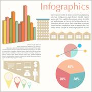 An infochart of the buildings Stock Illustration