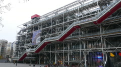 Stock Video Footage of Famous Centre Pompidou building in Paris - a place for exhibitions