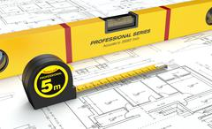 Spirit level and tape measure Stock Illustration