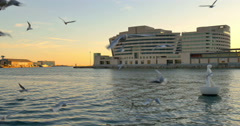 Port Vell in Barcelona during sunset time. Stock Footage