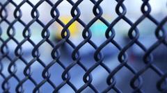 chain link fence on bridge - stock footage