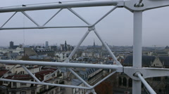 View from Centre Pompidou building to the City of Paris - stock footage