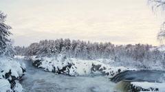 Plain waterfall Voitsky Padun in Nadvoitsy settlement at winter season Stock Footage