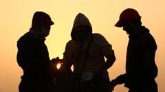 Man silhouette in Sun set - stock footage