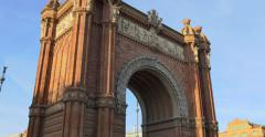 The Arc de Triomf is the triumphal arch in Barcelona. Stock Footage
