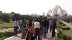 Lotus Temple or Bahai House of Worship 1 Stock Footage