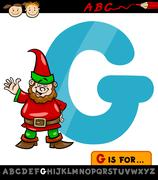 letter g with gnome cartoon illustration - stock illustration