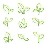 Leaf simbol, Set of green leaves design elements - stock illustration