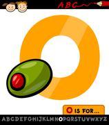 Letter o with olive cartoon illustration Stock Illustration