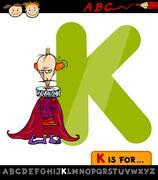 Stock Illustration of letter k for king cartoon illustration