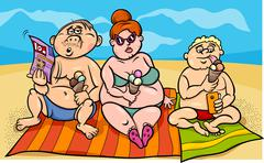 overweight family on the beach - stock illustration