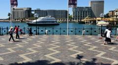 Australia Sydney People walking by water along decorated walk 4k Stock Footage