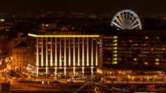 Budapest - Riverside hotels and Budapest Eye Stock Footage
