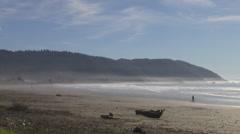 California Coast Crescent City Beach Jogger - stock footage
