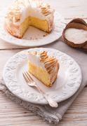 Cheesecake with Swiss meringue Stock Photos