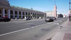 Heavy traffic at Nevsky Avenue, Saint Petersburg Stock Footage