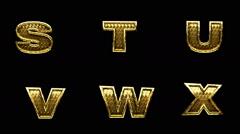 Loop alpha matted golden alphabet Stock Footage