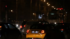Night Bus Cross Road Rush Time Intersection Late Tram Stock Footage