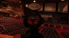 POV through Sniper's Scope at Auditorium Stock Footage