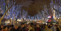 BARCELONA, SPAIN: La Rambla is a crowded street in central Barcelona Stock Footage
