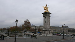 Stock Video Footage of Golden statue on Royal bridge called Pont Royale