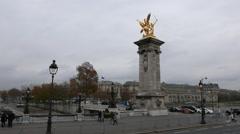 Golden statue on Royal bridge called Pont Royale - stock footage