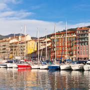 View on Port of Nice and Luxury Yachts, France Stock Photos