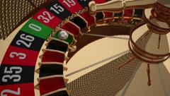 Realistic Casino Roulette Wheel with Zero Winning Number Stock Footage