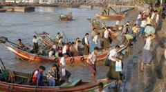 Yangon,small passenger ferries Stock Footage