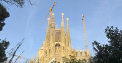 Sagrada Familia during sunset time. Stock Footage