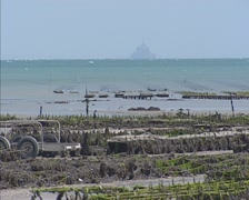 Bay with Le Mont-Saint-Michel at horizon + zoom out Cancale oyster beds Stock Footage