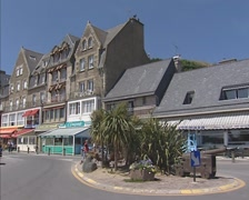 CANCALE, FRANCE -  waterfront with creperies and seafood restaurants Stock Footage