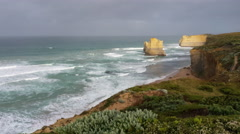 Timelapse of the 12 Apostles as waves crash in Stock Footage