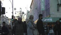 People shopping on Oxford Street Stock Footage