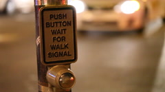 Push button for walk at intersection, Boston late night Stock Footage