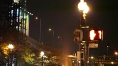 Walk signal at intersection late night Boston Stock Footage