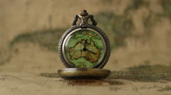 Pocket Watches On The World Map 6 Stock Footage