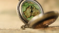 Pocket Watches On The World Map 12 Stock Footage