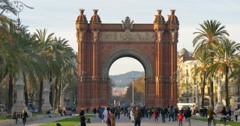 The Arc de Triomf is the triumphal arch in Barcelona Stock Footage