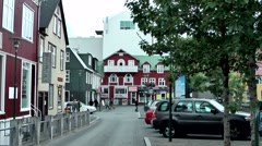 Iceland city of Reykjavik 015 quiet street in downtown Stock Footage