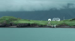 Iceland city of Reykjavik 007 golf court on a green steep coast island Stock Footage