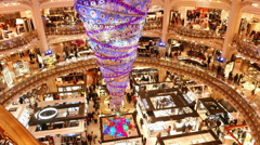 famous store Galeries Lafayette in Paris - stock footage